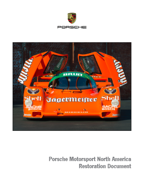 COMMUNICATIONS - Porsche 962 Restoration  Document  CLIENT - Porsche Motorsport North America  Writing and design of a book documenting the restoration of Porsche 962-026