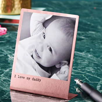 Desk photo - Personalise a polaroid style print - perfectly proportioned for his desk.