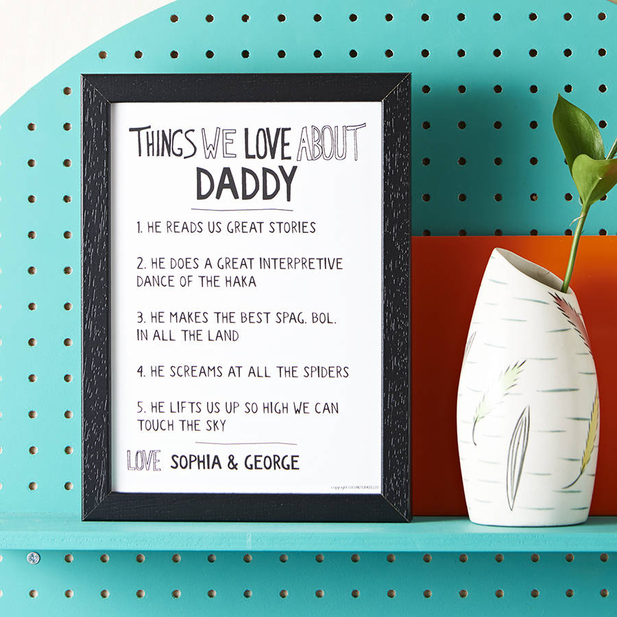 Personalised print - List out all the things you love about daddy and frame them for him to remember forever.