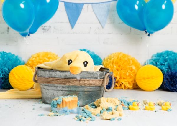 duck blue yellow cakesmash splash