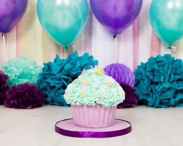 purple turquoise cake smash