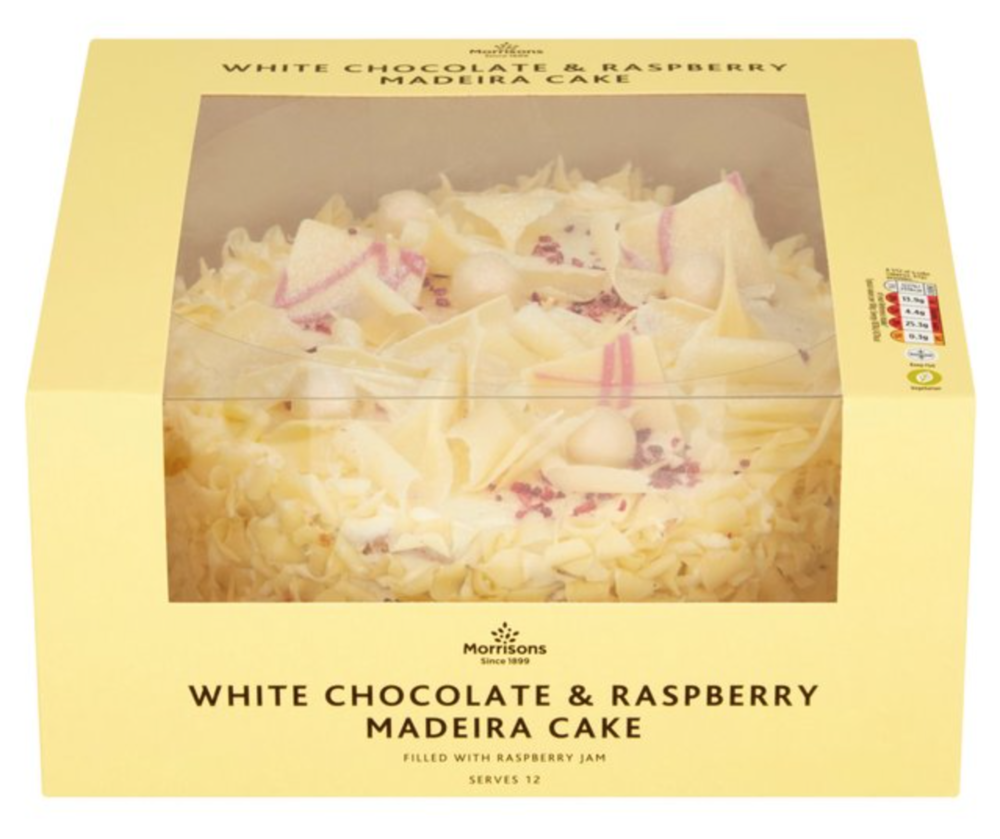 MORRISONS white chocolate and raspberry cake