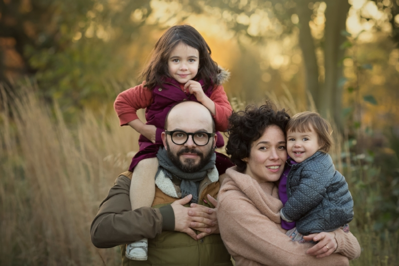 family of four setting sun portrait