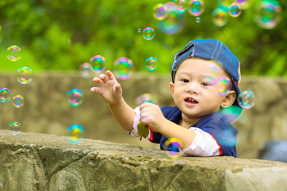 Child Park The Park Soap Bubbles Kid Ku Shin Play