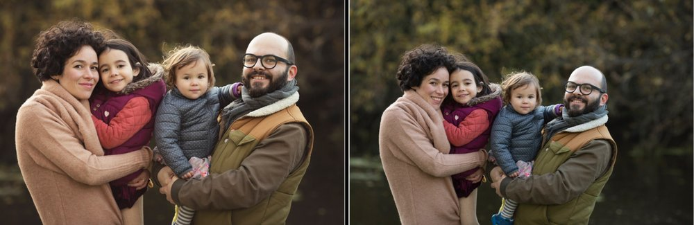 Left: after general editing including colour correction. Right: as shot in camera.