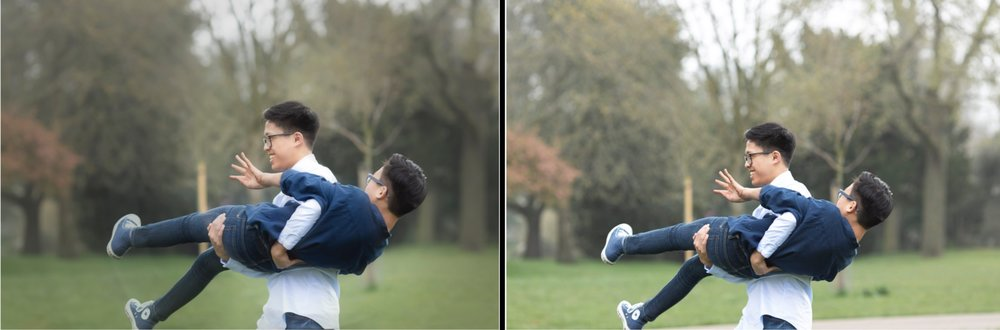 Left: after editing including adjusting tree line, replacing footpath with grass, cleaning up grass. Right: as shot in camera.