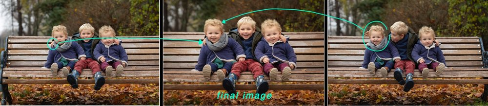 Left and Right: two images used to create the final composite image in the middle.