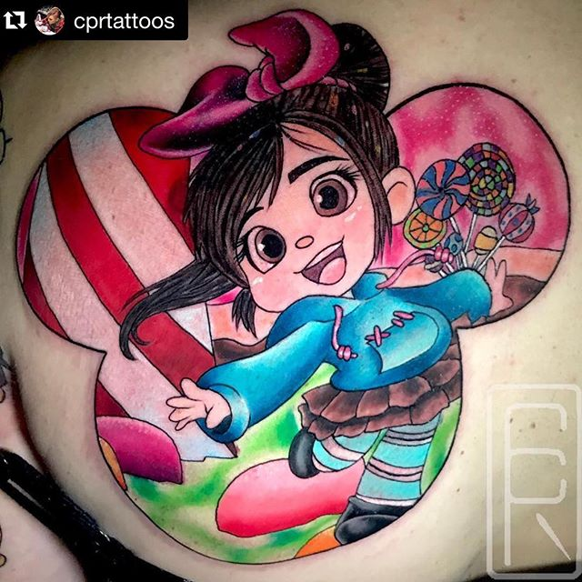 "SALT LAKE CITY! This Friday and Saturday @cprtattoos will be in our studio tattooing all you fine folks. Message her directly to book #saltlakecitytattooartist #saltlakecitytattoo #saltlakecitytattooconvention #saltlakecity ・・・ ""Enjoying your little tantrum, diaper baby?"" -Vanellope von Schweetz All tattoo inquiries👉🏻Link in bio Powered by @fkirons @fusion_ink @heliostattoo @secondskintac @stencilanchored @stencilstuff @spirittattooproducts @mdwipeoutz @s8tattoo @hivecaps @hivecups @releaf_products  @ultimatetattoosupply @razorbladepro"