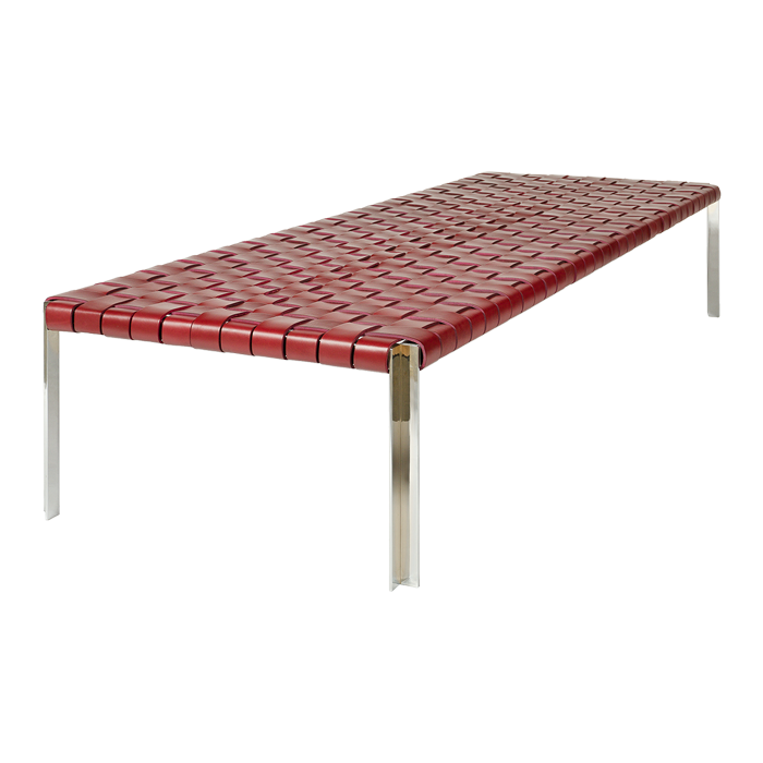 TG-18 WOVEN LEATHER BENCH - Designed by William Katavolos, Ross Littell and Douglas Kelly
