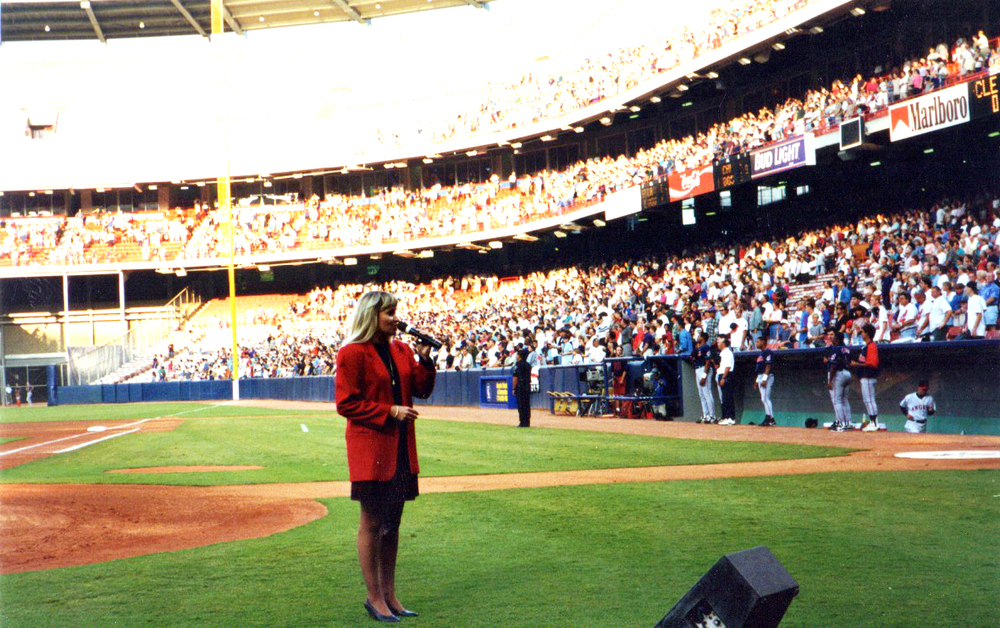 One of the many times singing our National Anthem at Angels Stadium.