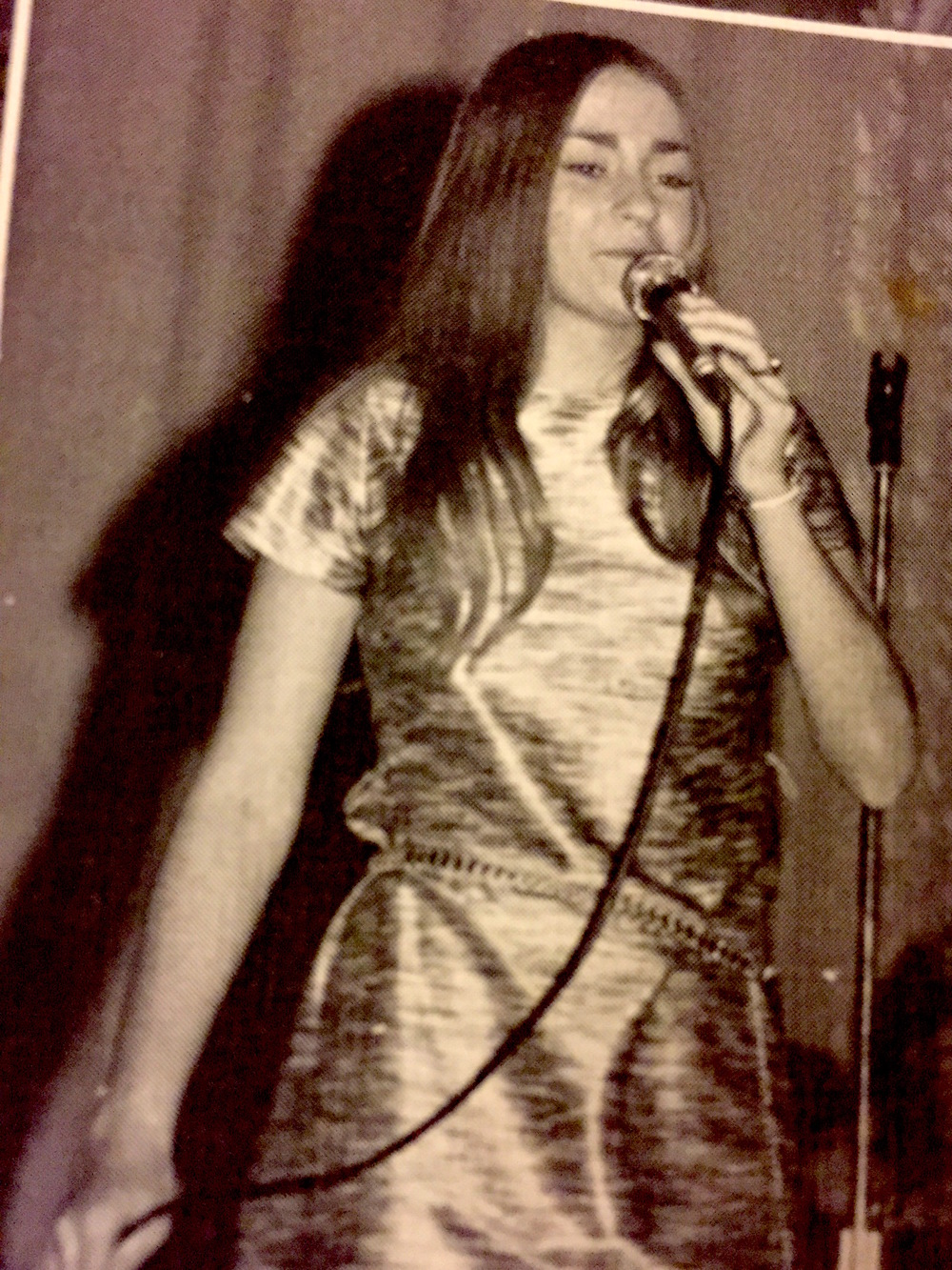 "At 15, High School Variety Show singing ""Bobby McGee."""