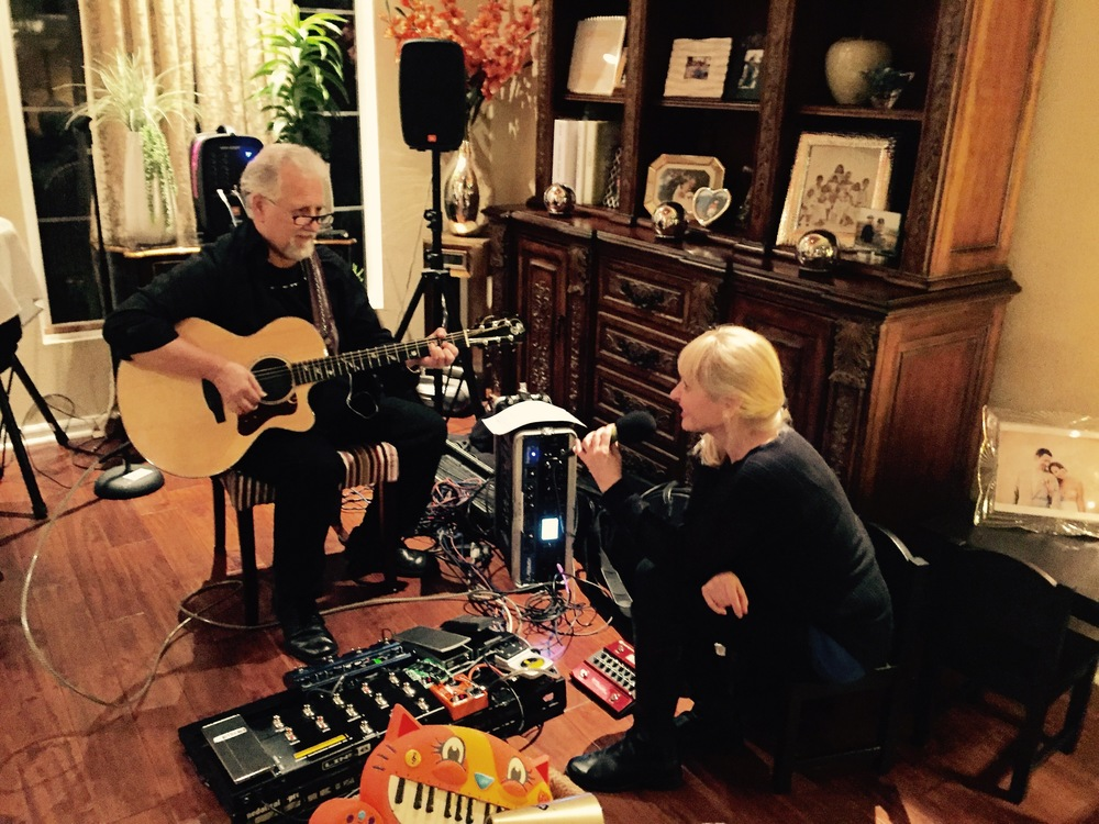 "Joni and legendary guitarist, Bobby Cochran, former member of ""Steppenwolf"" rehearsing for upcoming live singing interview on KOCI Radio December 16, 2015"
