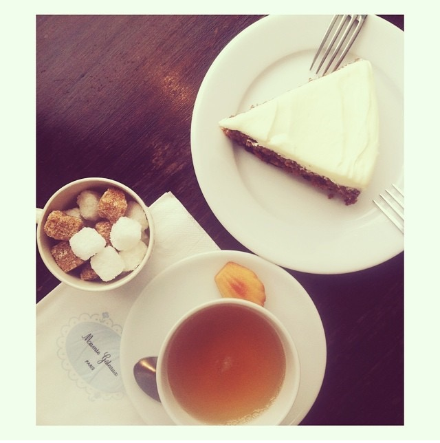 Carrot cake and cherry blossom tea