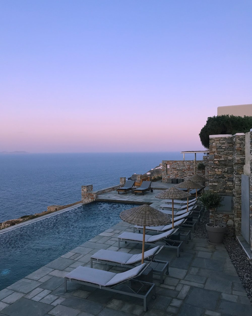 Dusk at the infinity pool at Astra Verina.