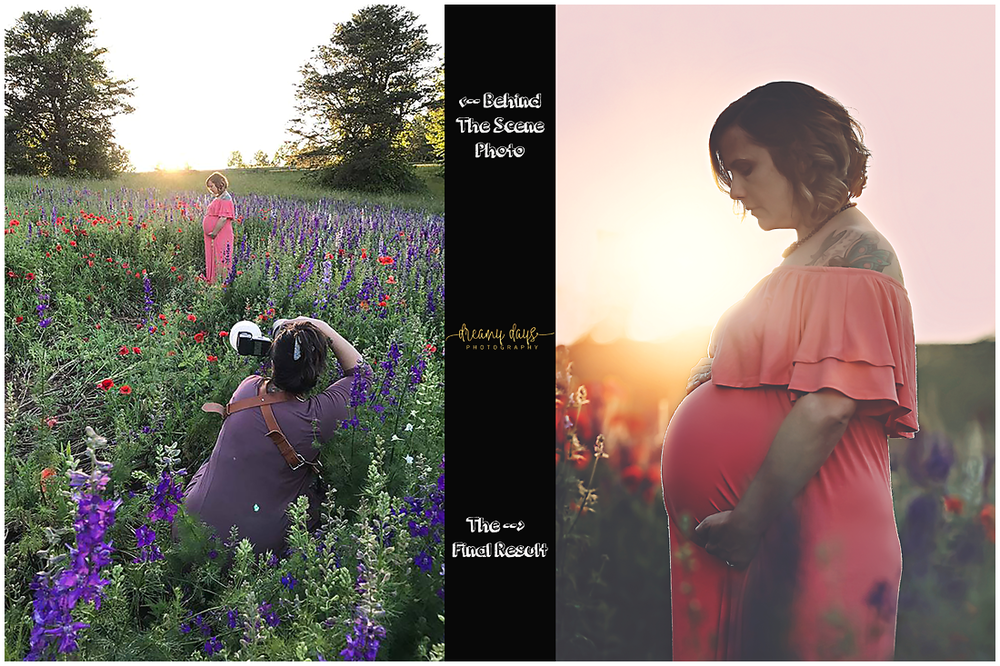 Behind the scenes of a maternity session.