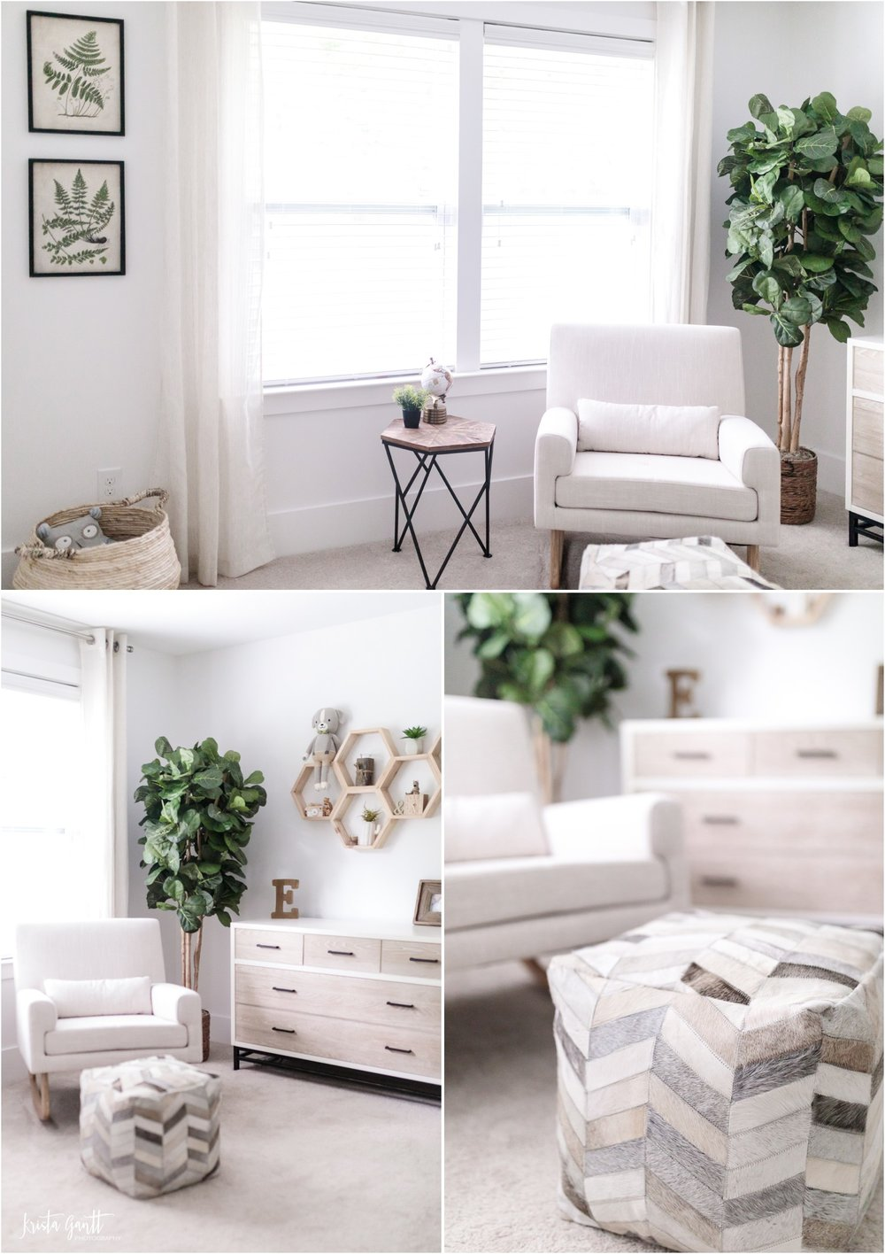 DRESSER: Buy Buy Baby | ROCKER: Amazon | COWHIDE OTTOMAN: World Market | FAUX FIDDLE LEAF FIG: Amazon