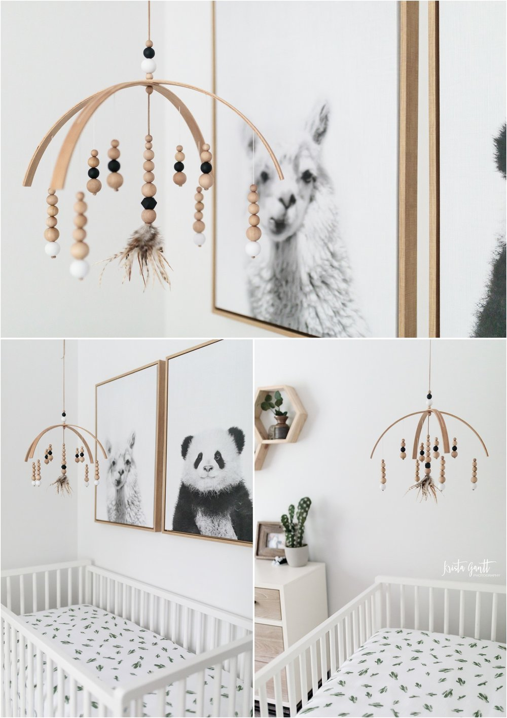 MOBILE: Bella Bloom Kids | LLAMA AND PANDA CANVAS: Home Goods | CRIB: Pottery Barn | CRIB SHEET: Spearmint Love