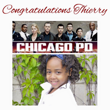 We are so super proud of Thierry, who is filming for the first time. She is on set for Chicago PD! Watch out for her in an upcoming episode!