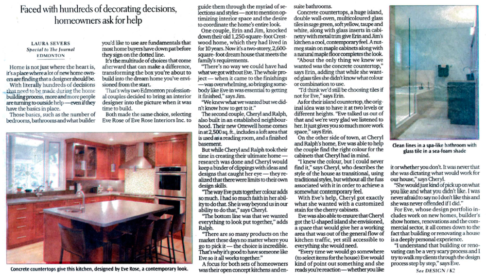 An Article In The Edmonton Journal About Interior Designer Eve Rose That Discusses Her Diverse Portfolio Of Design Projects