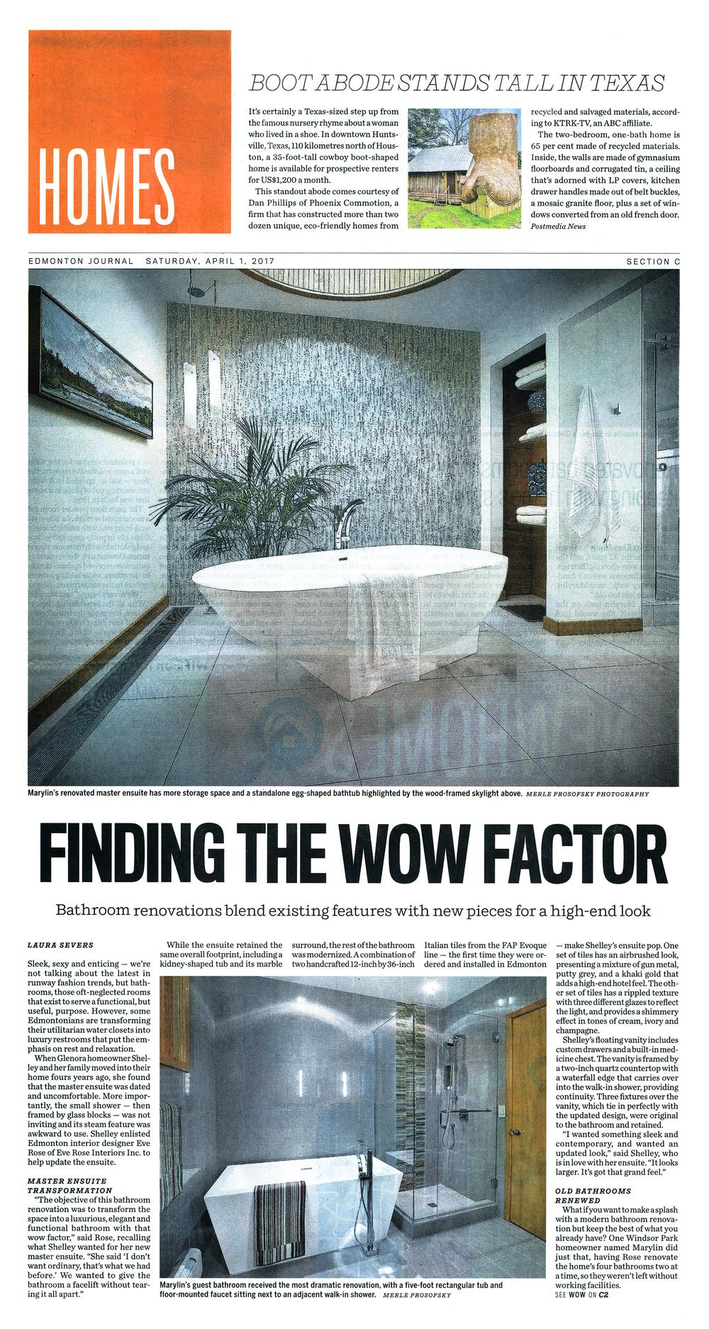 Edmonton Journal - Finding the Wow Factor — Eve Rose Interiors