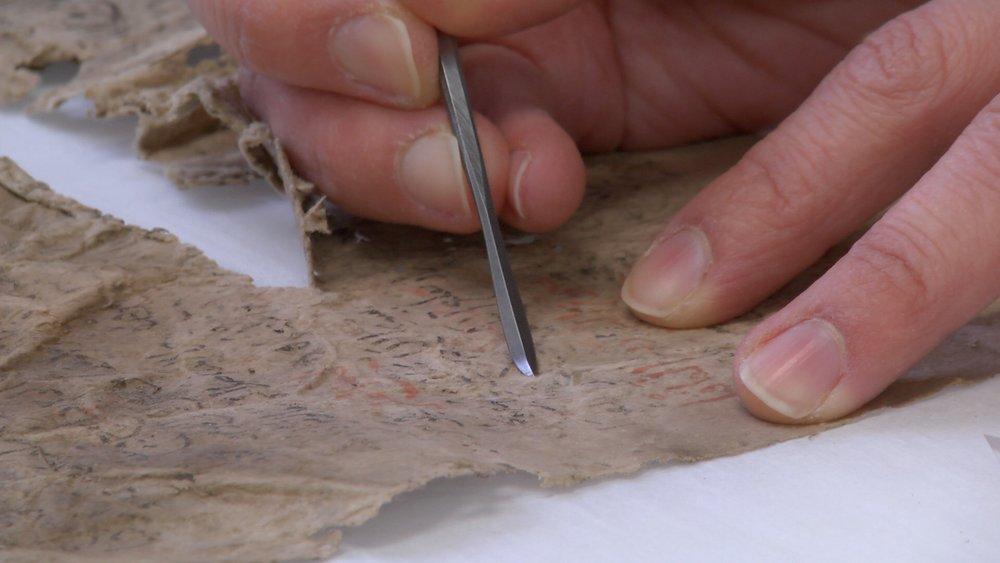 Restoring a Geniza fragment, Cambridge University Library
