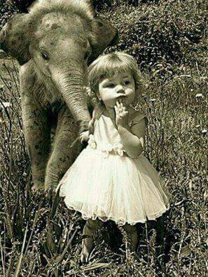 Girl With Elephant – Public domain