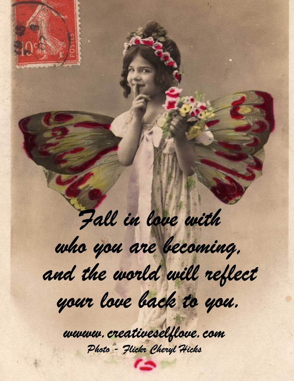 14.5 Fall in Love with Yourself – Graphics by author; vintage postcard photo, Cheryl