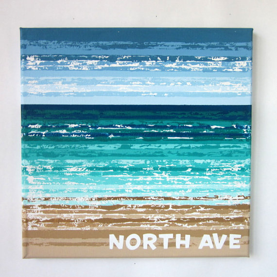 "North Ave Beach - 12"" x 12"""