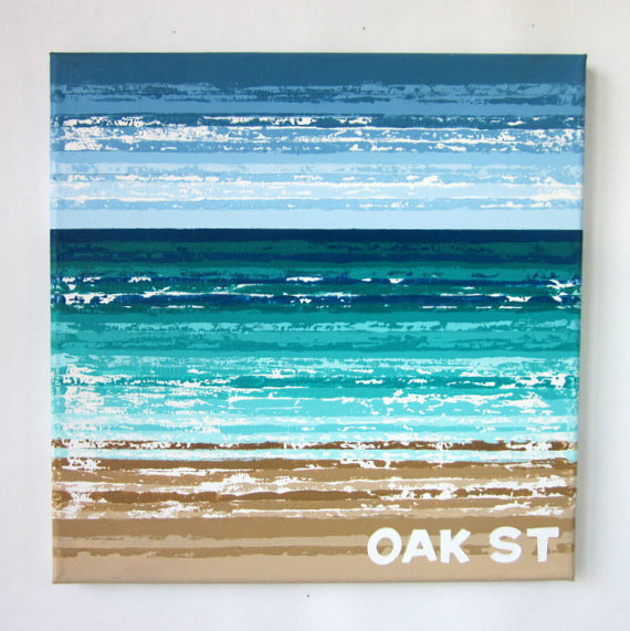 "Oak St Beach - 12"" x 12"""