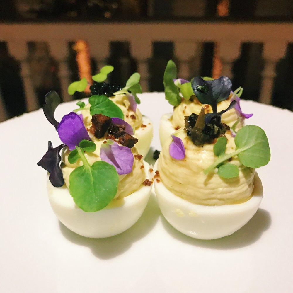 We're willing to bet money that these will be the best deviled egg you will ever come into contact with in your life. They include truffle and possibly some sort of crack cocaine. Boom daddy.
