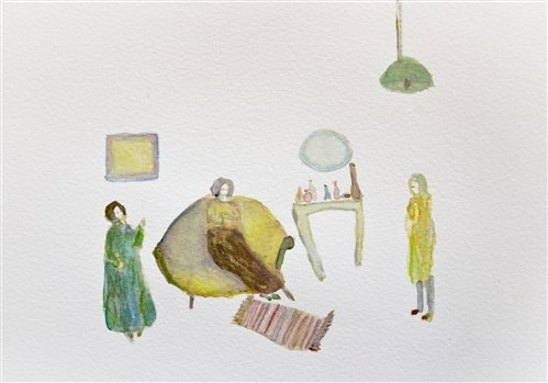 Image:Meeting at Nancy's, watercolour on paper, 2013   Nancy's Rooms    2012 - present   The title Nancy's Rooms makes reference to a photograph I came across a few years ago on the internet of Nancy Spero's studio. Visiting Nancy's retrospective exhibition at the ICA in the mid 1980's as a young women art student had a massive influence on me as a painter and feminist. Finding the photograph of Nancy's studio over twenty five years after first visiting the exhibition became a catalyst for a new series of small scale paintings examining interior spaces mostly domestic. The new paintings are the beginnings of working with narrative. Working from a multiple of references-including art historical, personal and the everyday. Jacqueline Utley, 2015