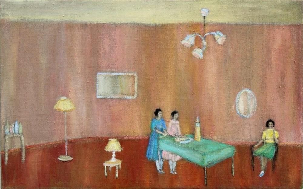Hannah, Alice, Ella, 2014, Oil on linen, 25 x 40 cm