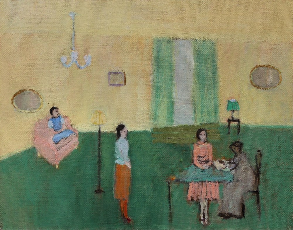 Front room, performance, letters, 2015, Oil on linen, 20 x 25 cm