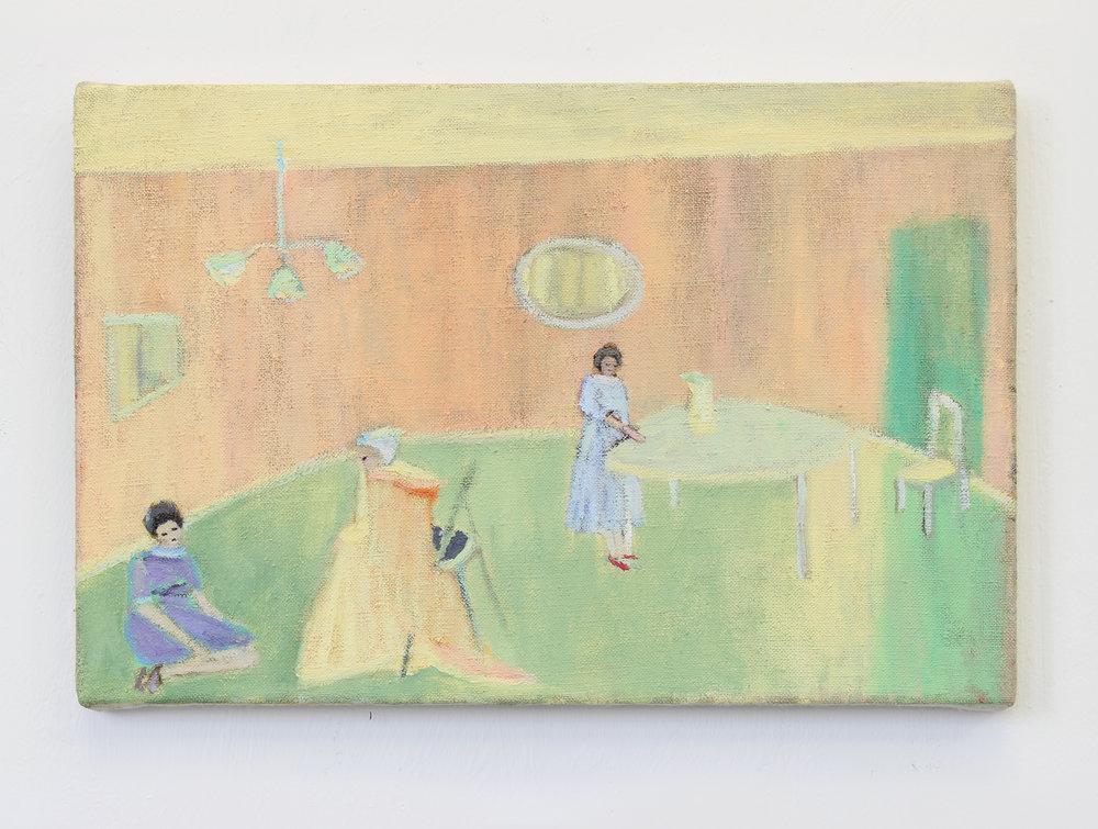 Waiting Living Room Waiting, Oil on Linen, 20 x 20cm, 2016