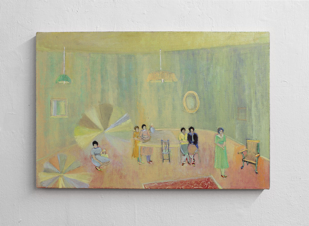 Jacqueline Utley, Her Room Gathering, 40 x 60 cm, Oil on linen, 2017