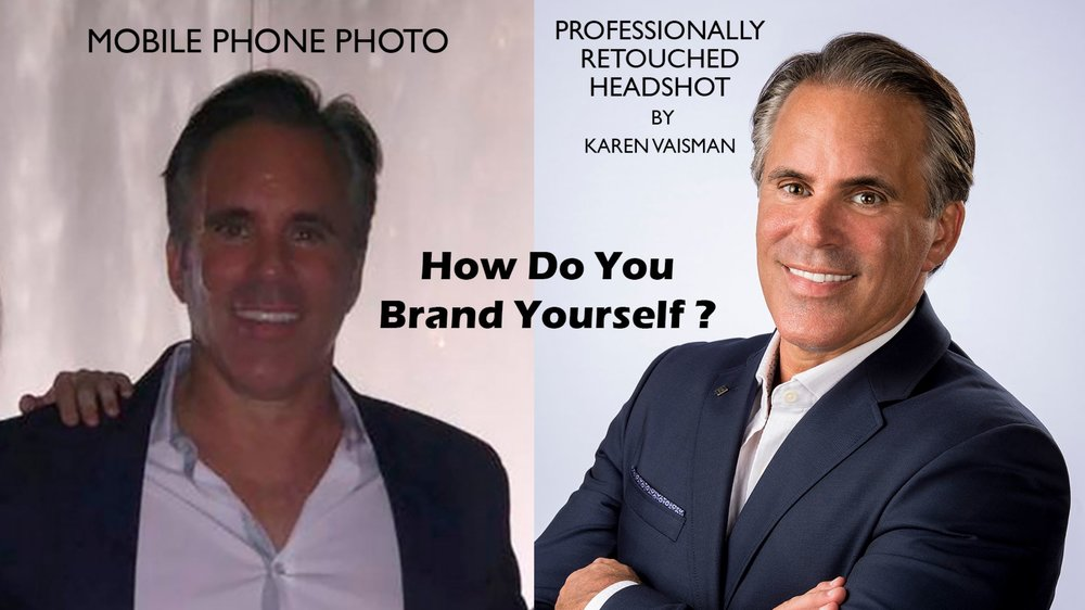 How do you represent your personal brand? With a mobile phone snapshot or a professionally retouched corporate headshot?  (See before and after retouched gallery.)