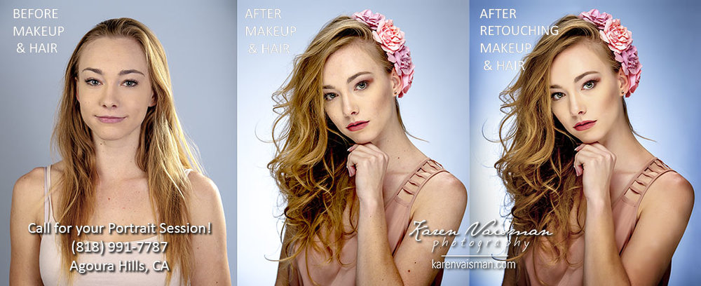 Before and After Professional Retouching - with professional makeup and hair and after Photoshop touch up artwork to finish the image