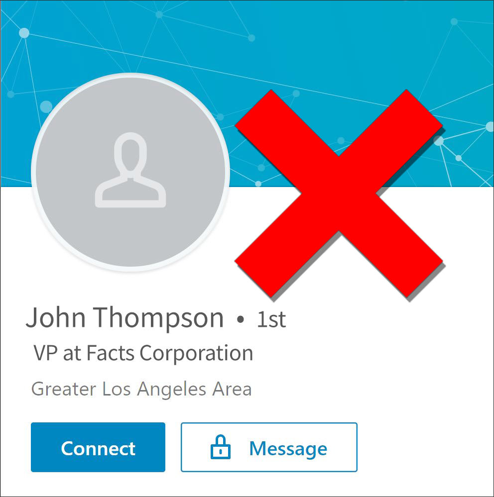 LinkedIn Profile Picture - Absent - Not Recommended