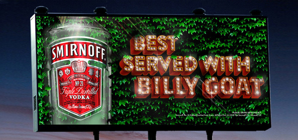 Wrigley Field Billboard - Illustration/Art Direction Medium: (Bottle photography, ivy photography), Photoshop, Illustrator