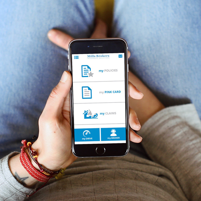 The MyMills client portal and mobile app gives clients 24/7 support - Clients can access their insurance information on their laptops, desktops and smartphones. This free 24/7 service helps you view policy information and coverage, submit claims, access liability slips and more.