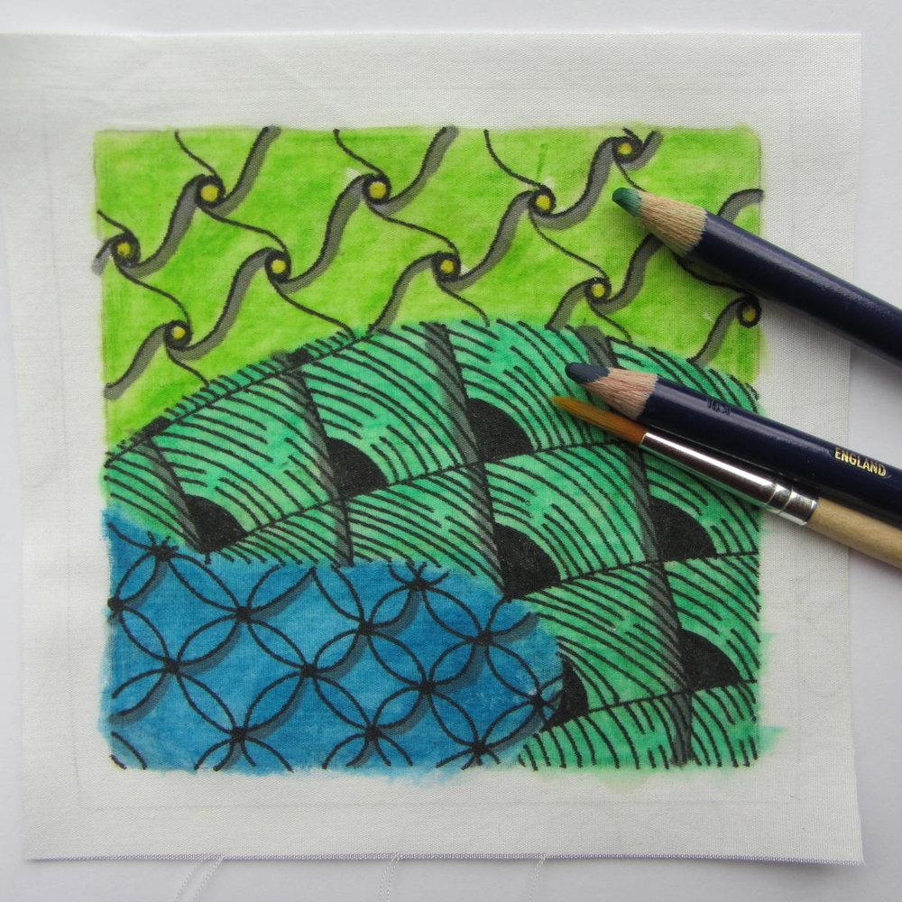 Zentangle on Fabric by Nancy Domnauer, Certified Zentangle Teacher.JPG
