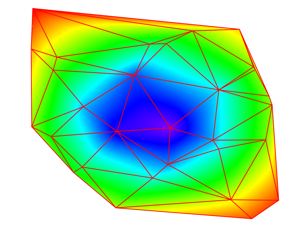 Figure 10:   An image plot of the Voronoi interpolated data with the triangulation overlay.