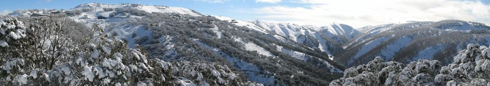 View of Mt Hotham ski fields after 20 cm fresh snowfall