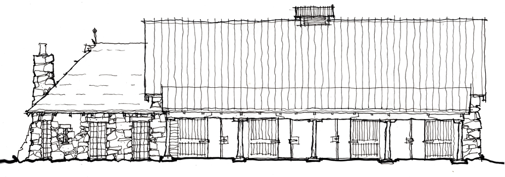 "Early sketch of the east elevation of ""Animal House"""