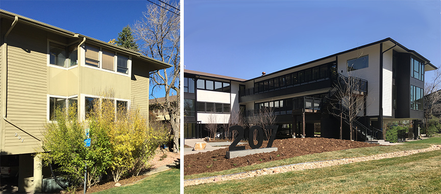 207 Canyon - Before (Left) and After (Right) Tenant Improvements