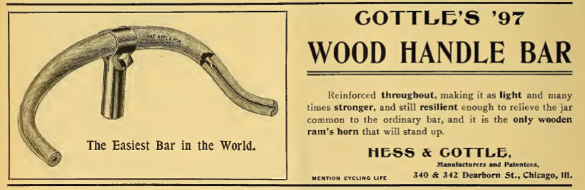 1897 bicycle wood handlebar