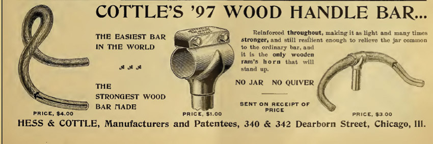 Cottles 1897 wood handle bar bicycle