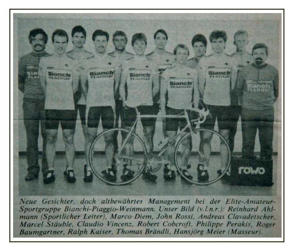 GS Bianchi Piaggio Weinmann 1987. Principal sponsor, Rollag AG the Swiss Bianchi importer.