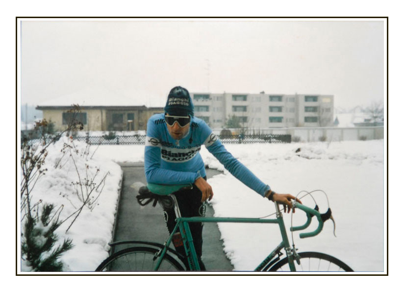 Training February 1987, Preisig's house, Sulgen Switzerland. After a two hour training ride at minus ten. The rest of the day would be spent doing a run through the forest, couple of hours cross country skiing followed by more bike training on an ergo. Photo by Robert Cobccroft