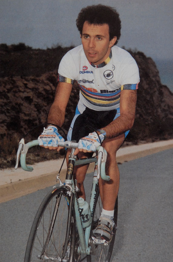 "Moreno Argentin riding an ""Argentin"" Bianchi X4 in 1987, the year after he won the professional UCI world championship at Colorado Springs.  Gianfranco Trevisan today has in his vast collection of important professional racing bicycles, one of Argentin's 1987 X4 team bikes with the serial number .4 87."